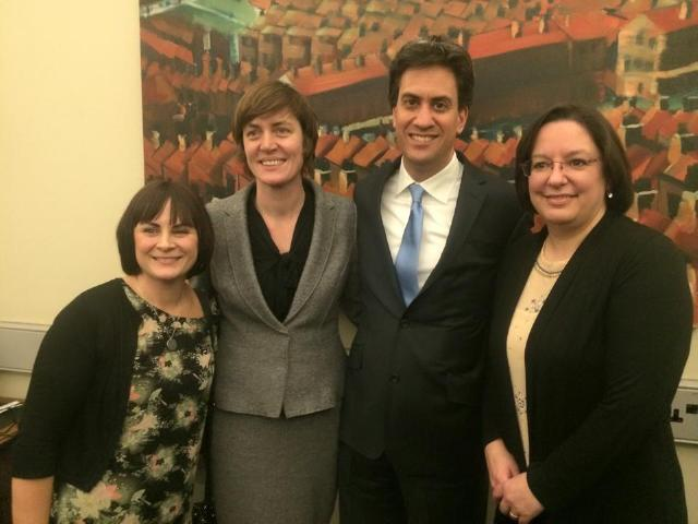 Picture showing Tracey Collins with Ed Milliband